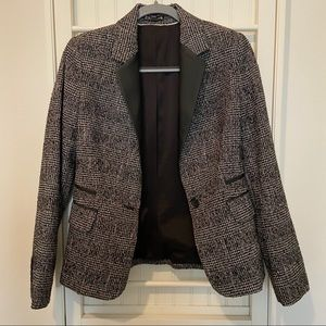 Tweed Blazer with Faux Leather Lapels